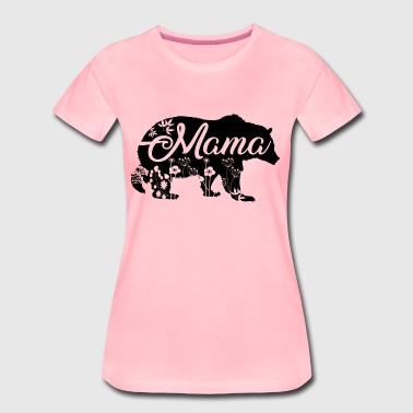 Mama Bear with flower decoration - Women's Premium T-Shirt