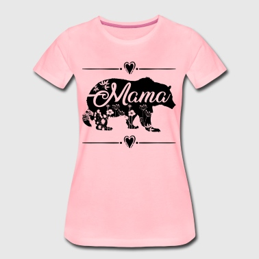 Beautiful Mama Bear with floral and heart deco - Women's Premium T-Shirt