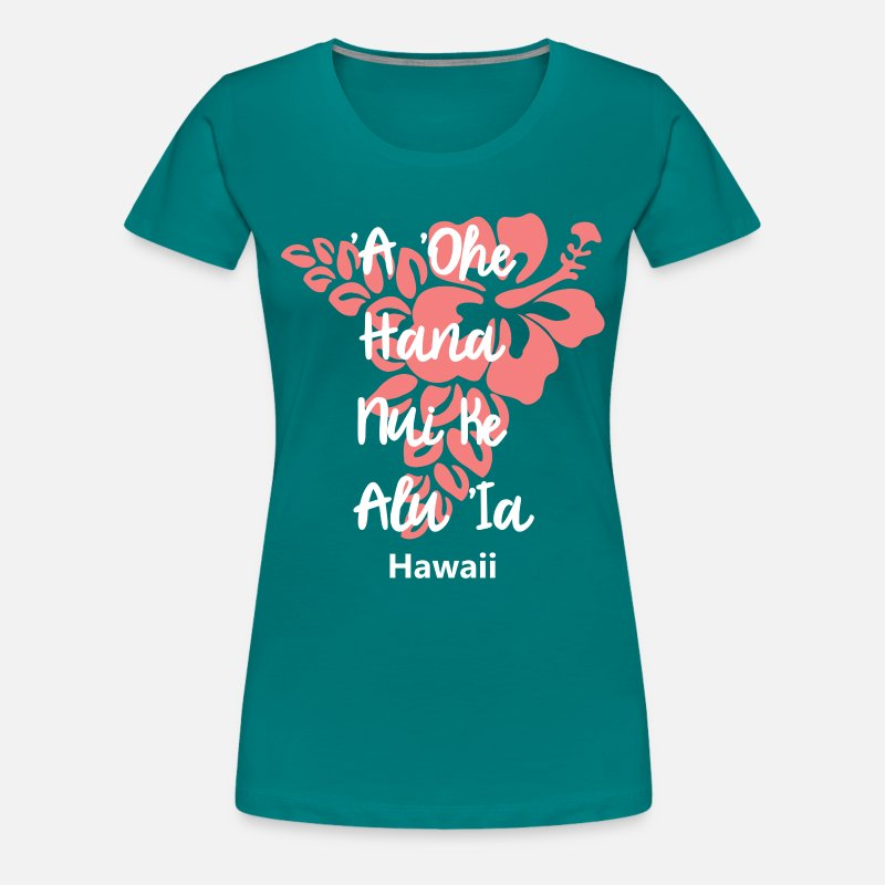 Motivation T-shirts - Hawaii beau dire la cohésion Aloha - T-shirt premium Femme bleu diva