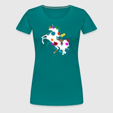 Farbkleckse Paintball Paintball Einhorn Farbkleckse Einhörner Unicorn - Frauen Premium T-Shirt