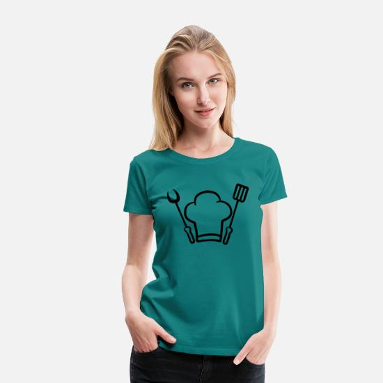 Chef T-Shirts - Barbecue grill chef hat fork spatula - Women's Premium T-Shirt diva blue