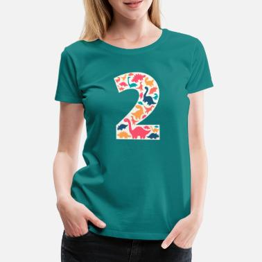 Zahl 2 - Two Years Birthday Dino Dinosaur T Rex - Frauen Premium T-Shirt