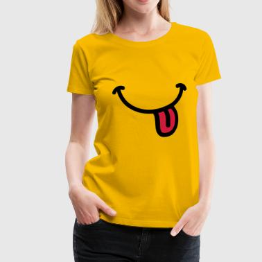 Smiley Grinsen Zunge - Frauen Premium T-Shirt