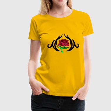 Rose in einem Tribal  - Frauen Premium T-Shirt