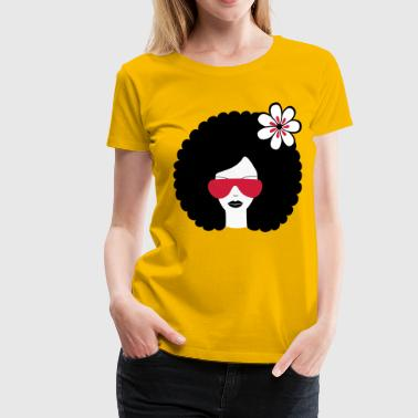 Curly haired girl with flower, retro revival, Afro summer - Women's Premium T-Shirt