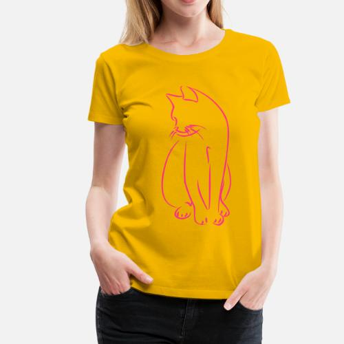 Cat cats kitty outline 1c Women s Premium T-Shirt  776b7d3100