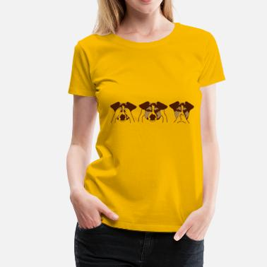 Caricature 3 monkeys motif with dogs - Women's Premium T-Shirt