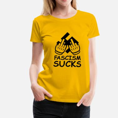 Anti Insults fascism_sucks_comic_gloves_1c - Women's Premium T-Shirt