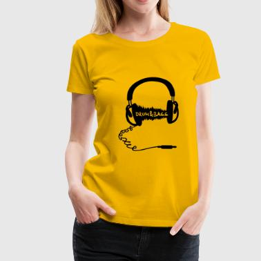 Headphones Audio Wave Motif: Drum & Bass Electronic Music  D N' B Drum n' Bass Drum&Bass - Women's Premium T-Shirt