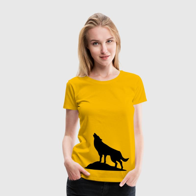 ulv, hund, Wolve Silhouette - Dame premium T-shirt