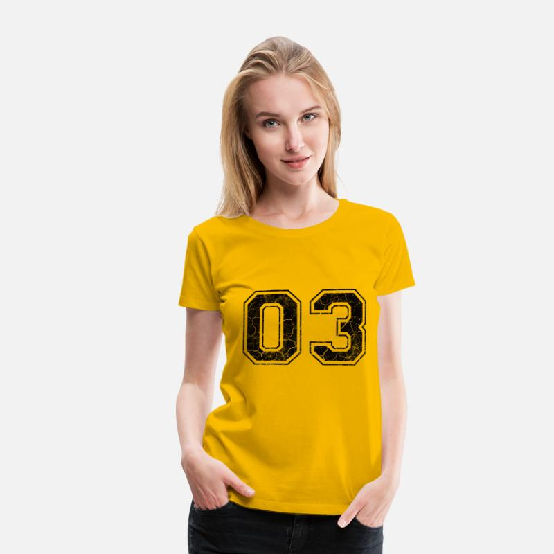 2003 T-Shirts - Number 03 in the grunge look - Women's Premium T-Shirt sun yellow