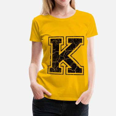 K Letter K in the grunge look - Women's Premium T-Shirt