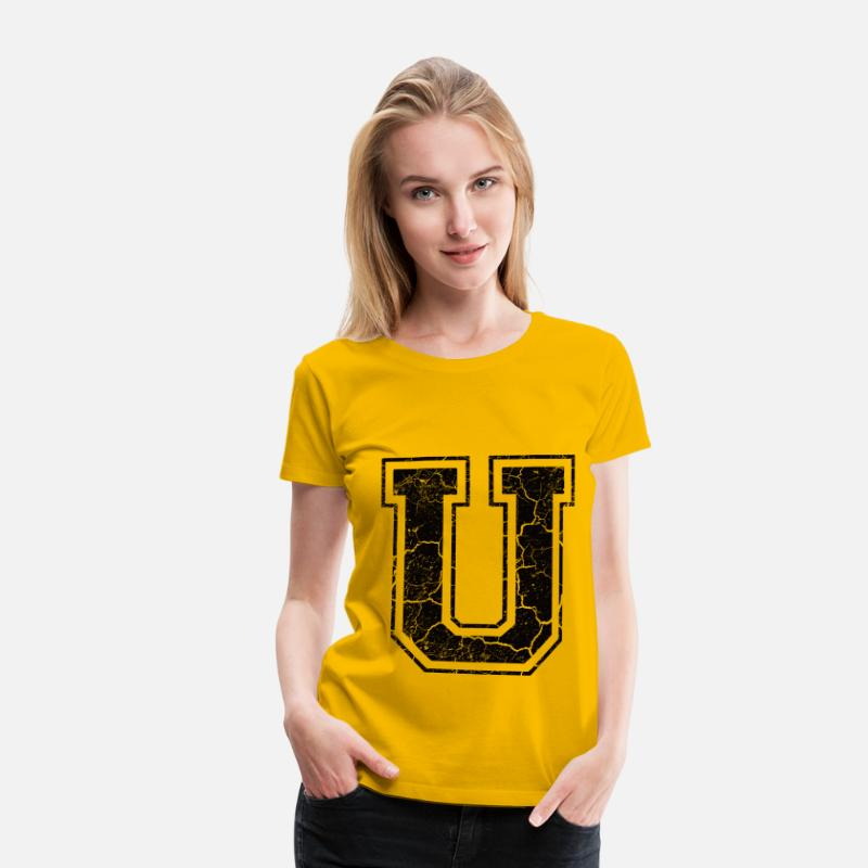 First Name T-Shirts - Letter U in grunge look - Women's Premium T-Shirt sun yellow