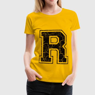 Letter R in the grunge look - Women's Premium T-Shirt
