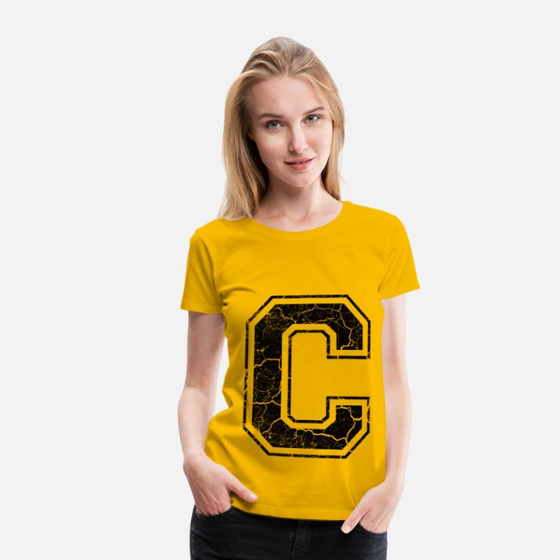 First Name T-Shirts - Point C in the grunge look - Women's Premium T-Shirt sun yellow