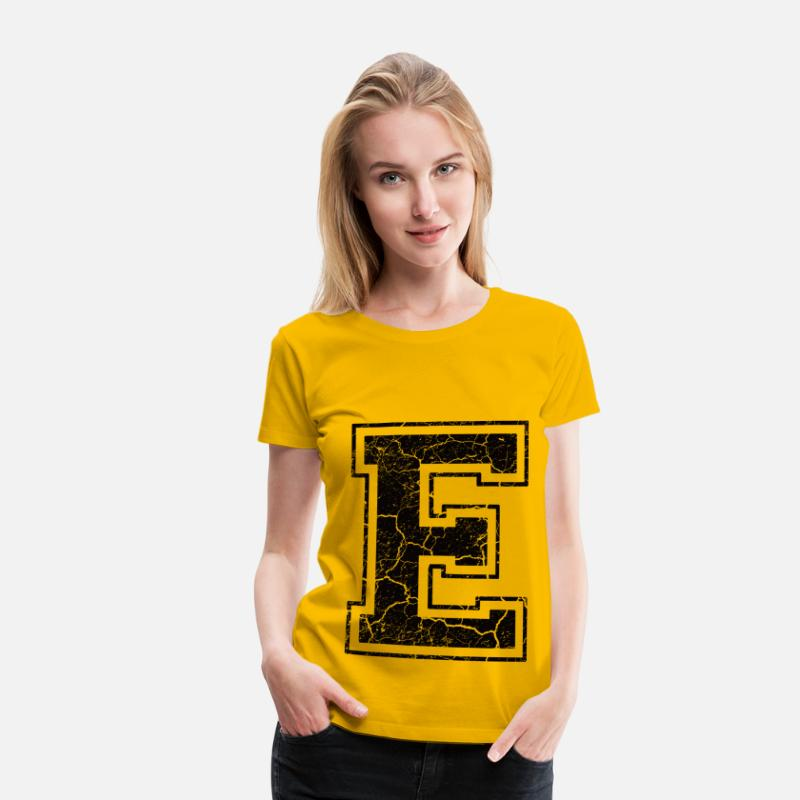 First Name T-Shirts - Letter E in the grunge look - Women's Premium T-Shirt sun yellow