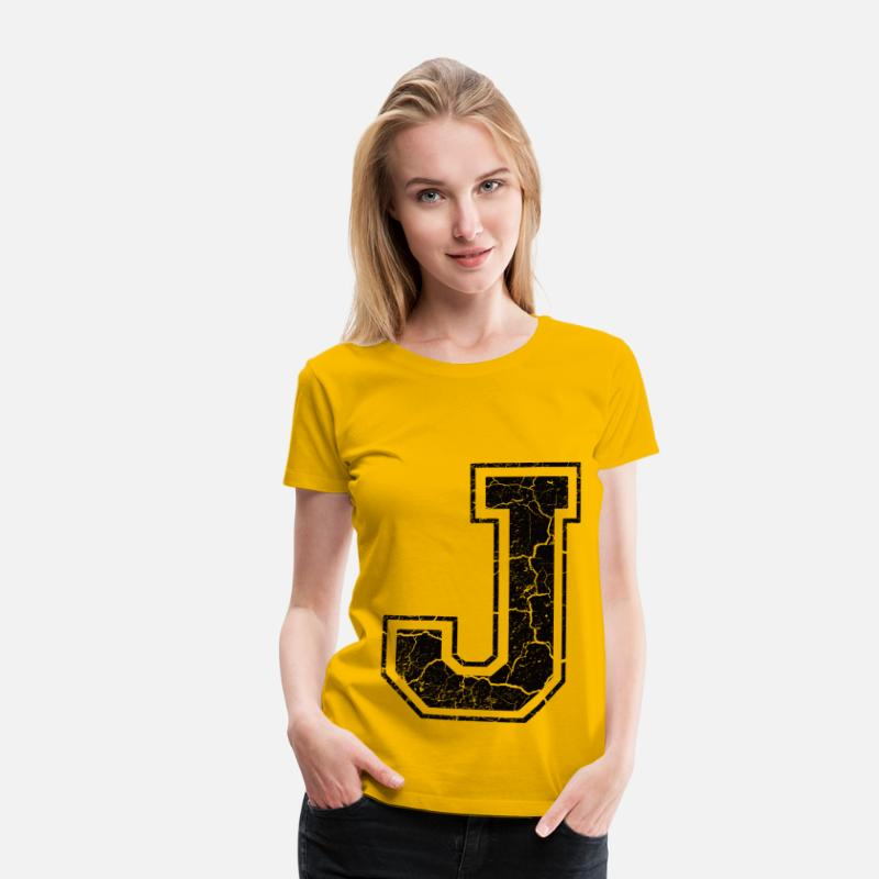 Alphabet T-Shirts - Letter J in the grunge look - Women's Premium T-Shirt sun yellow