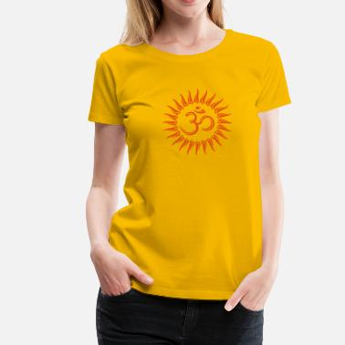 India Om sun, Buddhism, yoga, spiritual, meditation - Women's Premium T-Shirt