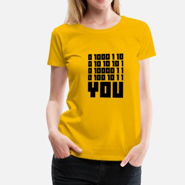 Unix FUCK YOU - Binary code - Women's Premium T-Shirt
