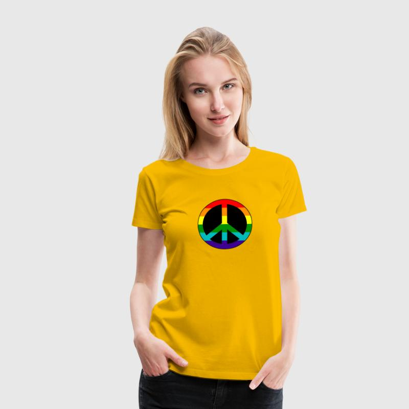 Gay pride peace symbol in rainbow colors - Women's Premium T-Shirt