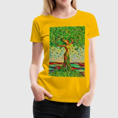 Gemälde Tree of Life Lebensbaum GREEN APPLE Beauty - Frauen Premium T-Shirt
