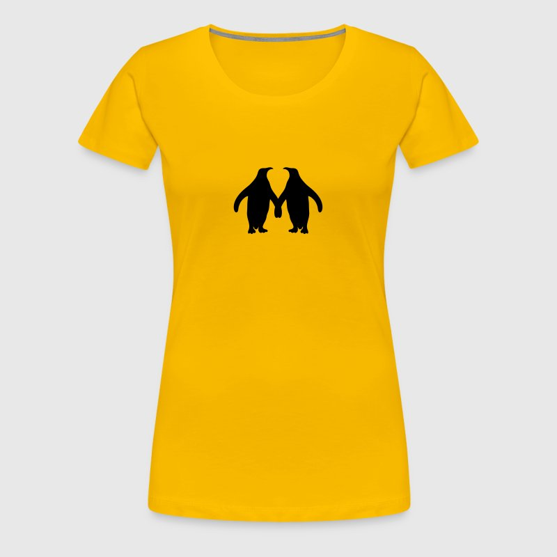 Love couple silhouette in love 2 penguins - Women's Premium T-Shirt
