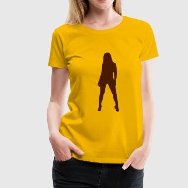 Sexy, devil, porno, lacquer, leather, whip, satan, angels, holy, holy light, love, sex, marriage, pair, friend, friend, dirtily, legs, Po, back, breasts, wing, silhouette, shade, outlined, sado, maso, Domina  - Dame premium T-shirt