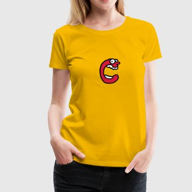 C Letter C funny face screaming Monster - Women's Premium T-Shirt