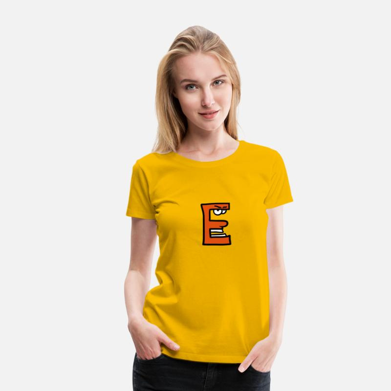 Animal T-Shirts - Letter E cartoon face funny monsters - Women's Premium T-Shirt sun yellow