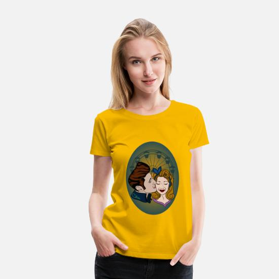 Love Camisetas - Rockabilly-Couple at Ferris Wheel - Camiseta premium mujer amarillo sol