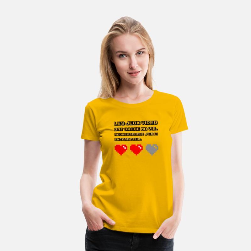 Gâché Premium Jaune Femme Soleil Les Vidéo Vie Jeux Ma T Ont Shirt sQrhtd