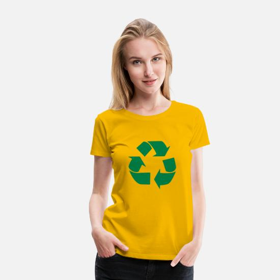 Earth T-Shirts - Recycling symbol - Women's Premium T-Shirt sun yellow