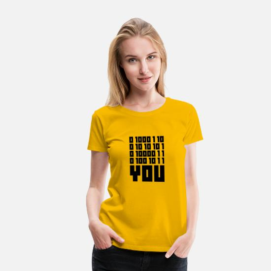 Binär T-Shirts - FUCK YOU - Binary code - Frauen Premium T-Shirt Sonnengelb