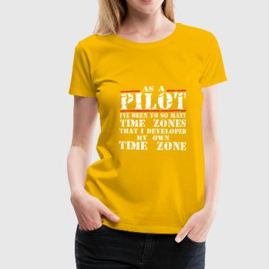 Pilot Flight Flying Airplane Getting Up Time Zone - Women's Premium T-Shirt