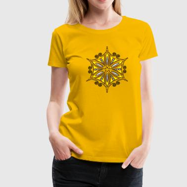 Flower of Aphrodite, gold, Symbol of  love, beauty and transformation, Flower of Life, Talisman - Women's Premium T-Shirt