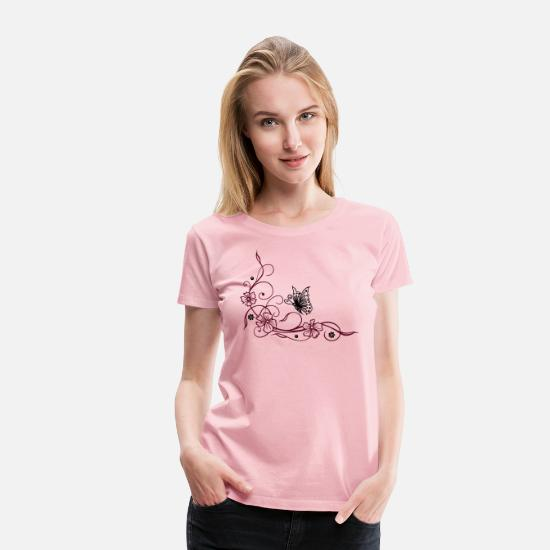 Floral T-Shirts - Flowers with filigree floral ornament, butterfly - Women's Premium T-Shirt rose shadow