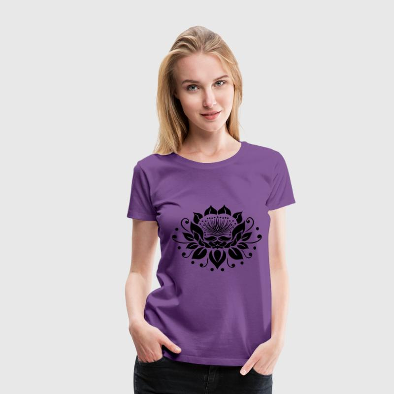 Large lotus flower in tattoo style. - Women's Premium T-Shirt