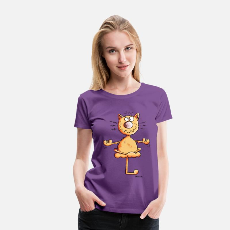 Chat T-shirts - Yoga Chat - T-shirt premium Femme violet