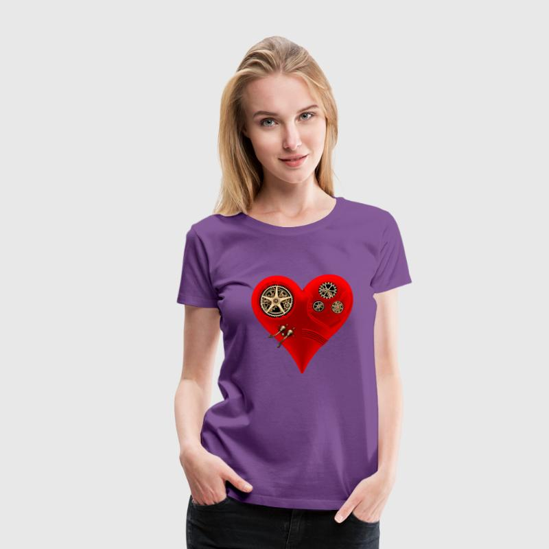Steampunk Clockwork Heart #2A T-Shirts - Women's Premium T-Shirt