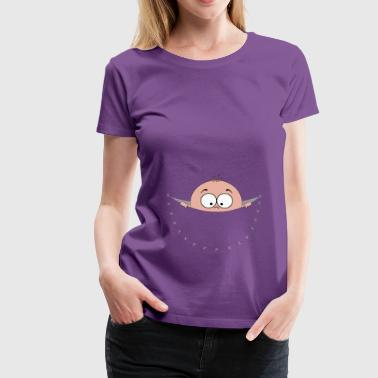 pregnant pregnancy baby bag pouch belly looking - Women's Premium T-Shirt