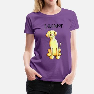 Labrador Cartoon Yellow Labrador - Women's Premium T-Shirt