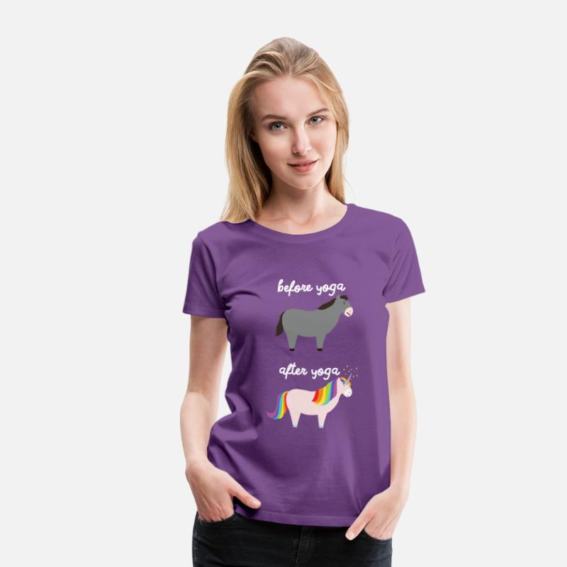 Yoga T-Shirts - Before Yoga - After Yoga - Women's Premium T-Shirt purple