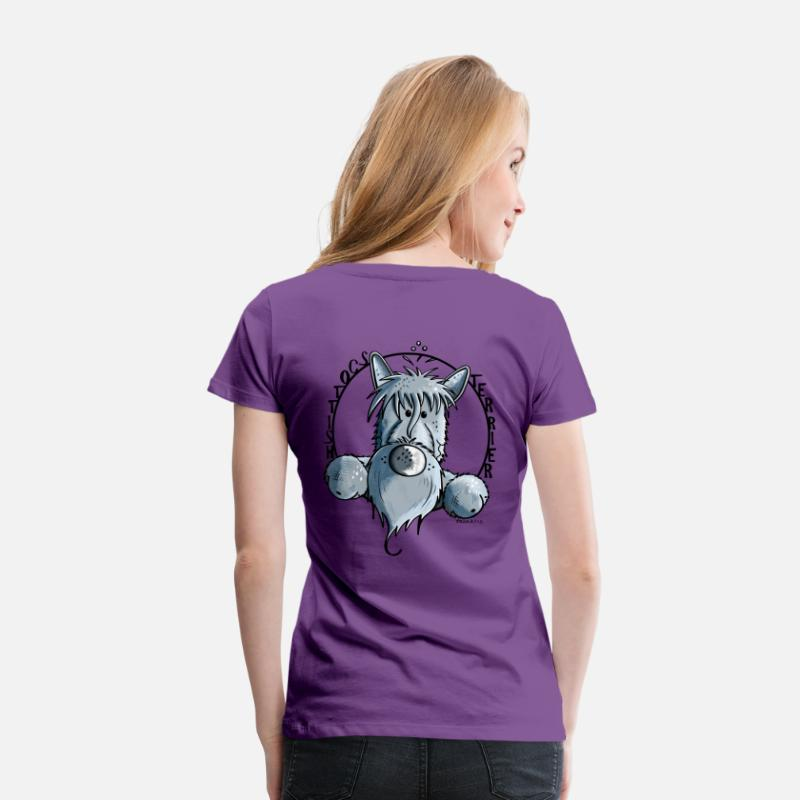 Funny T-Shirts - Funny Scottish Terrier - Women's Premium T-Shirt purple