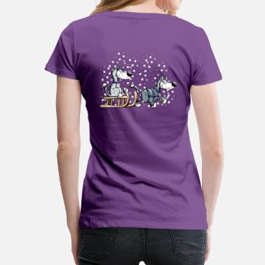 Sled Huskies in the snow - Women's Premium T-Shirt