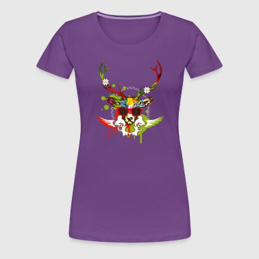 A stag's head with red sunglasses - Women's Premium T-Shirt