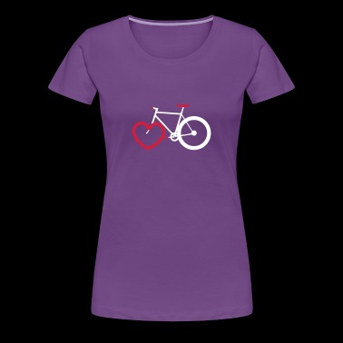 Cyclist with heart for cycling - Women's Premium T-Shirt