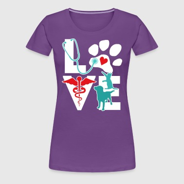Veterinarian Love Cat and Dog Veterinary T Shirt - Women's Premium T-Shirt
