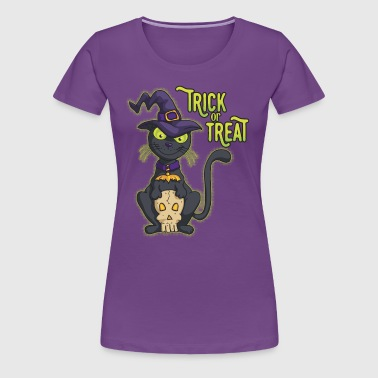 Halloween Black Witch Cat Trick or Treat - Women's Premium T-Shirt