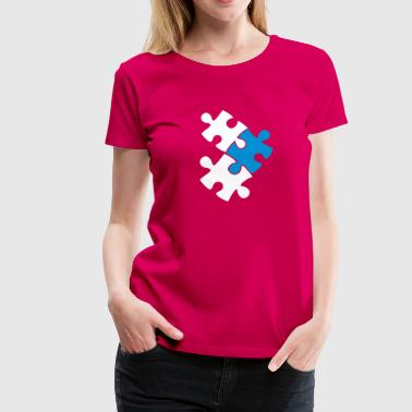 three jigsaw pieces fitting together 3 - Women's Premium T-Shirt