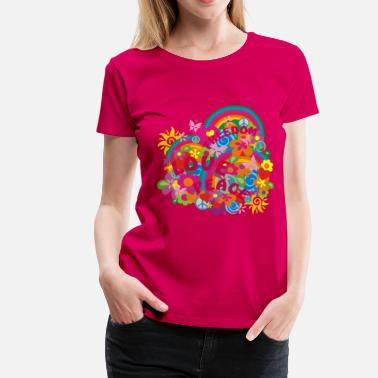 Hippie FLOWER POWER RAINBOW - Frauen Premium T-Shirt